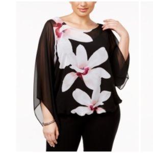 Alfani Plus Size Angel-Sleeve Blouson Top